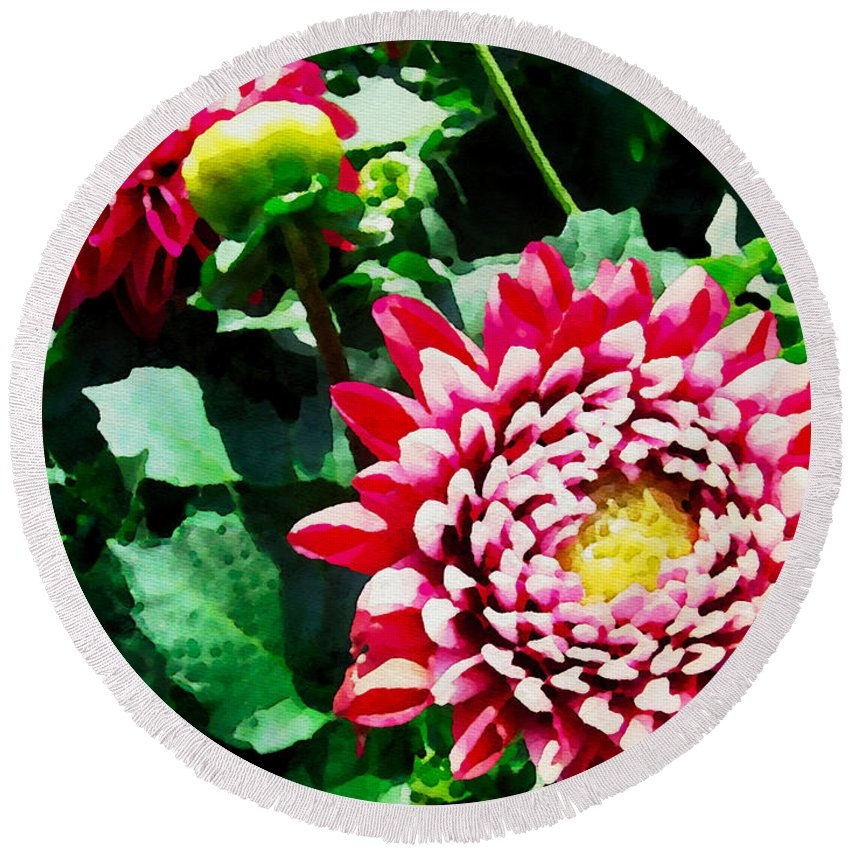 Flowers Round Beach Towel featuring the photograph Ref Dahlias by Alice Gipson