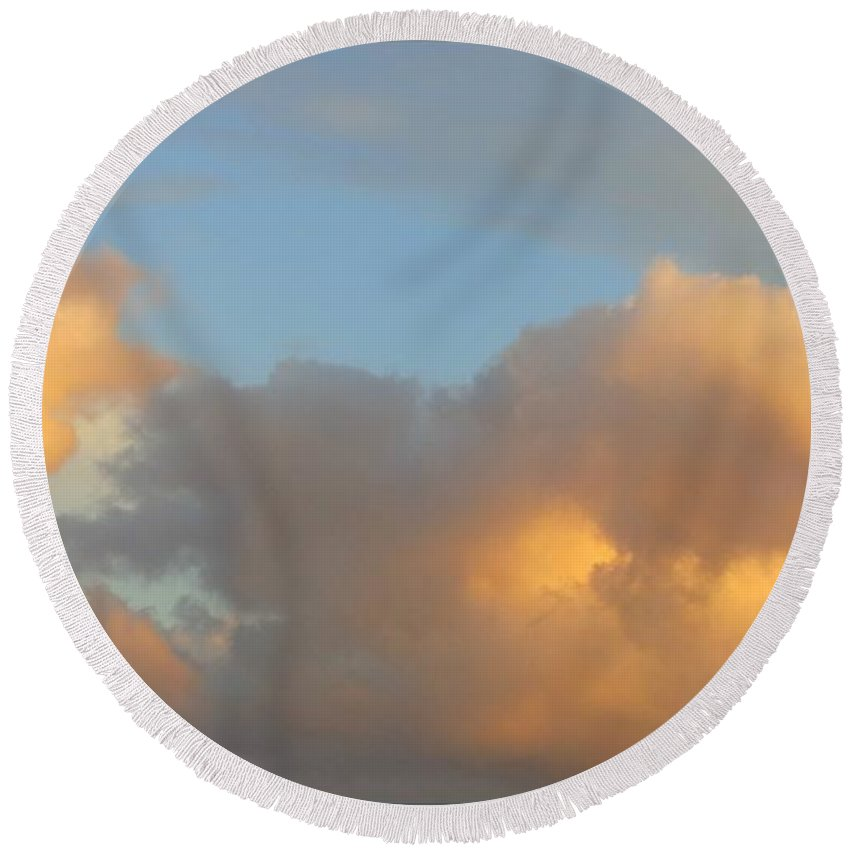 Clouds Round Beach Towel featuring the photograph Reflected Light by Leanne Seymour