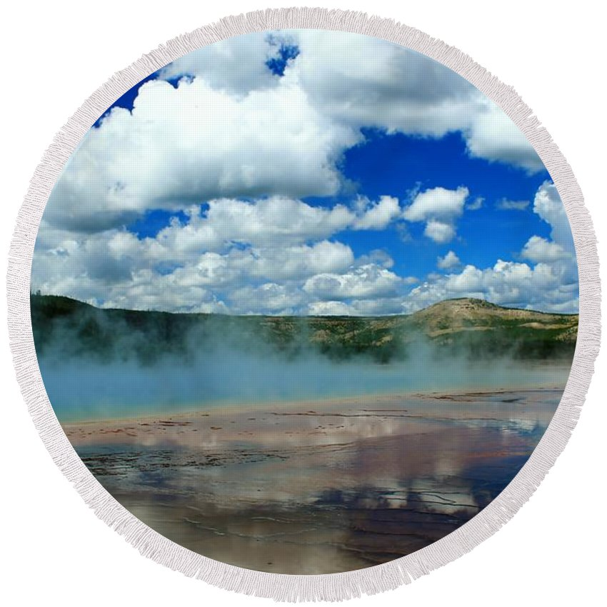 Yellowstone National Park Round Beach Towel featuring the photograph Reflecting Springs by Catie Canetti