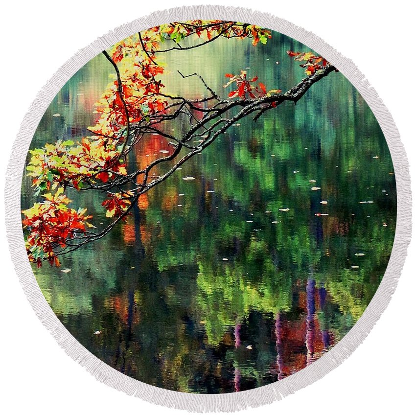 Reflections Round Beach Towel featuring the photograph Reflection Of Autumn by Callan Art