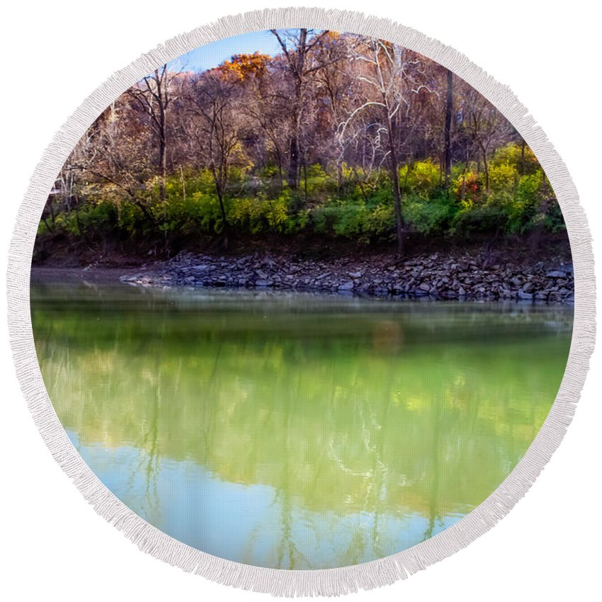 Reflections Of Autumn Round Beach Towel featuring the photograph Reflection Of Beauty by Peggy Franz