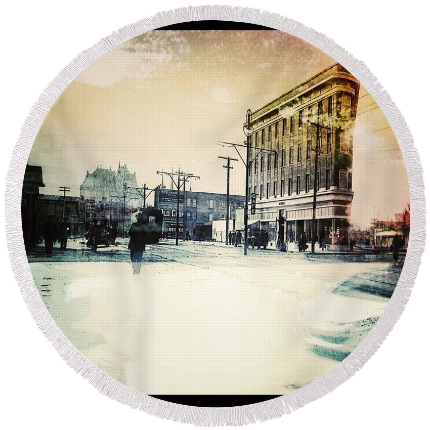 Street Photography Round Beach Towel featuring the photograph Reflection Of Colour by The Artist Project