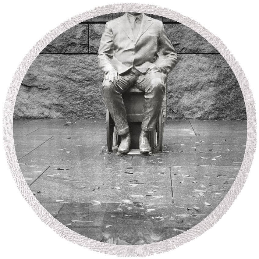Franklin Round Beach Towel featuring the photograph Reflection Of Fdr by Jost Houk