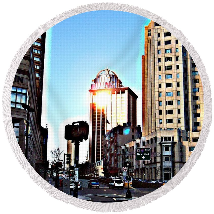 Boston Round Beach Towel featuring the photograph Reflections About Boston by Marcello Cicchini