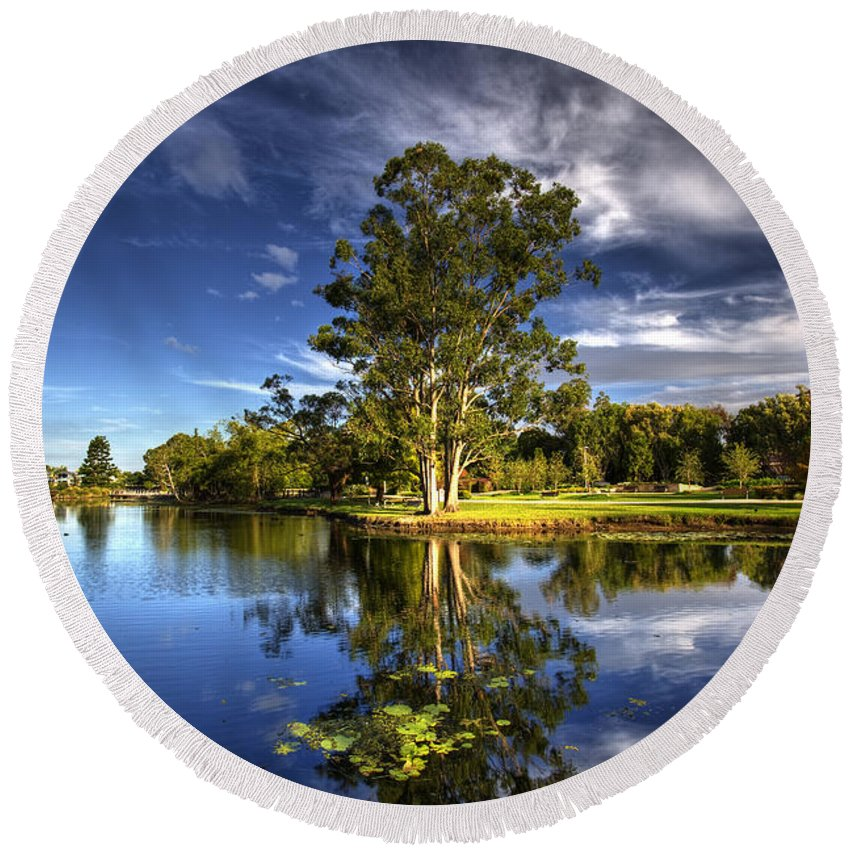 Gold Coast Round Beach Towel featuring the photograph Reflections by Darren Burton