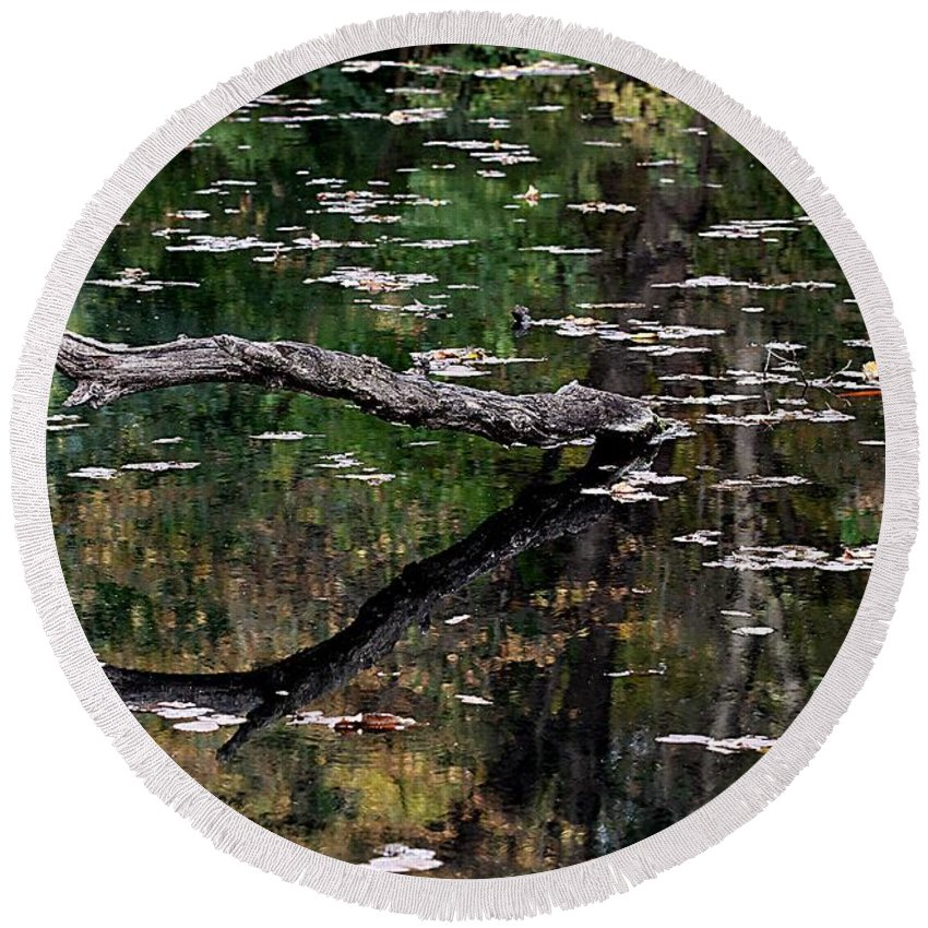 Pond Round Beach Towel featuring the photograph Reflections by Elizabeth Winter
