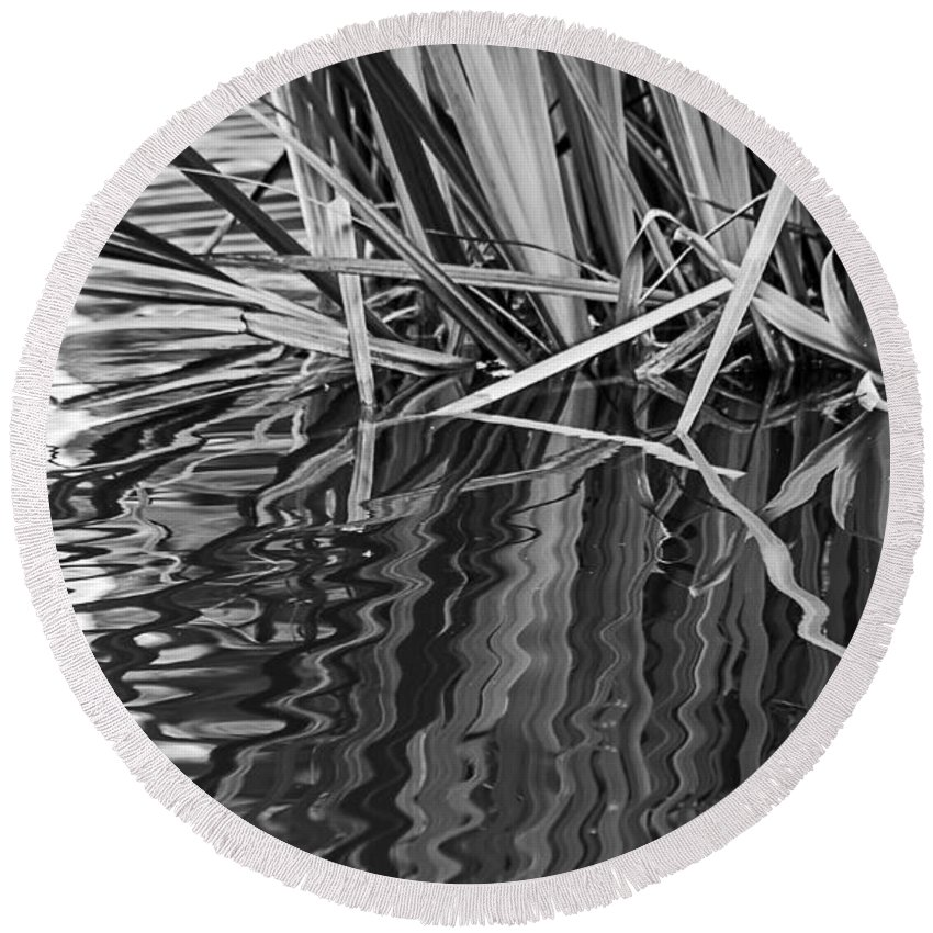 Black Round Beach Towel featuring the photograph Reflections In Black And White by Kate Brown