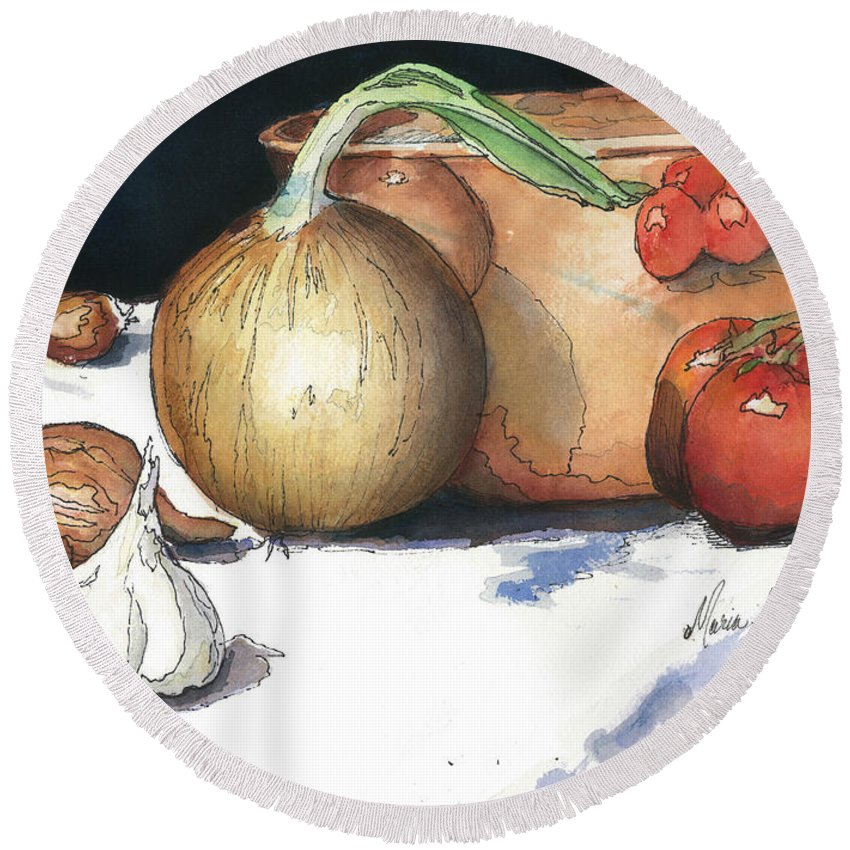 Tomatoes Round Beach Towel featuring the painting Reflections In Copper by Maria Hunt