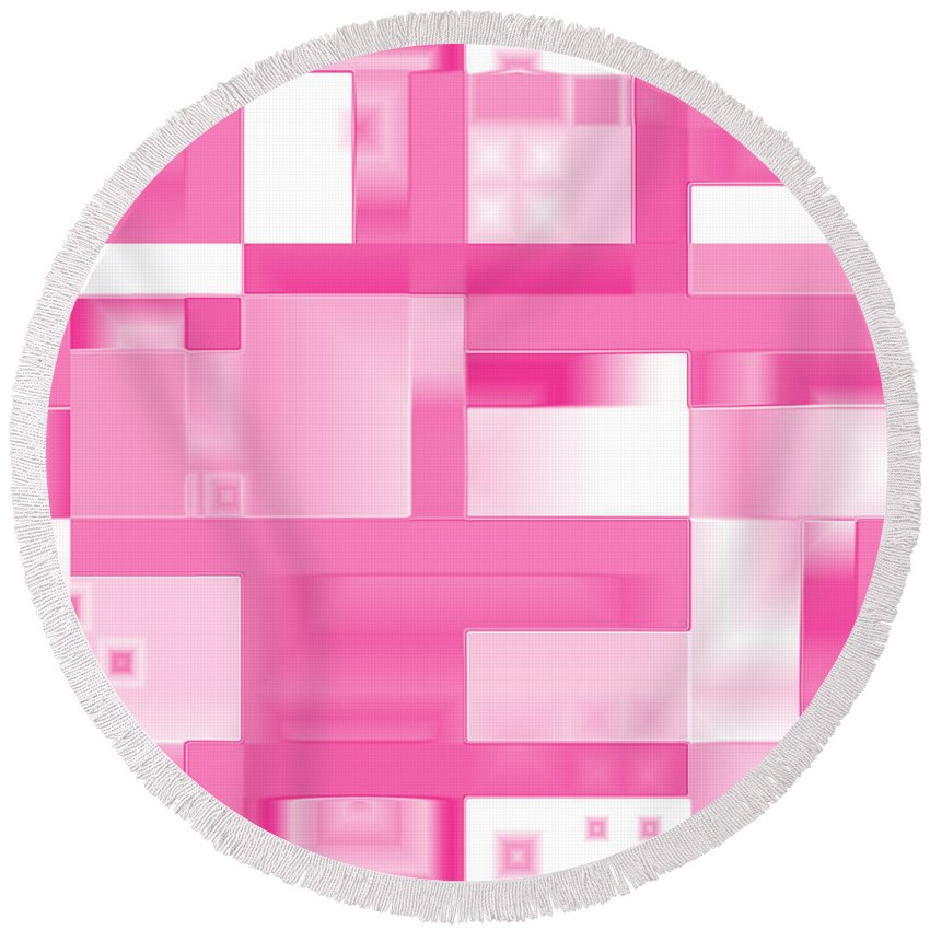 Geometric Round Beach Towel featuring the digital art Reflections In Pink by Judi Suni Hall