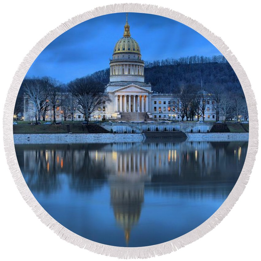 West Virginia Capitol Round Beach Towel featuring the photograph Reflections In The Kanawha River by Adam Jewell