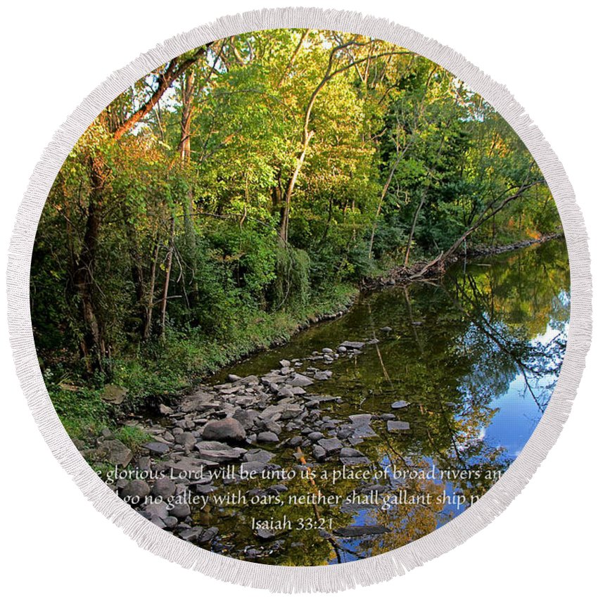 Stream Round Beach Towel featuring the photograph Reflections In The Stream by Debbie Nobile