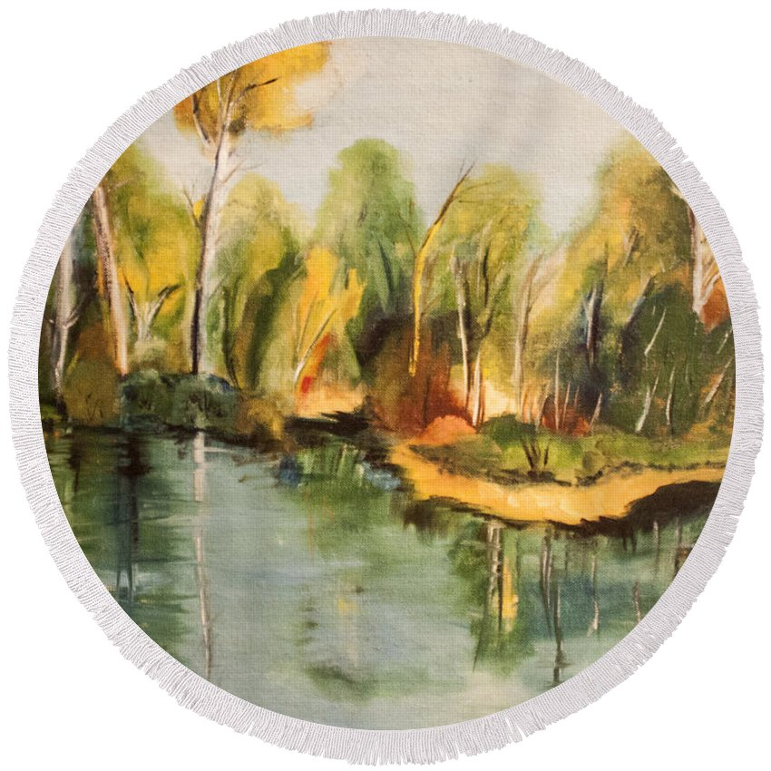 Water Round Beach Towel featuring the painting Reflections Of Age Thirteen by Janice Pariza