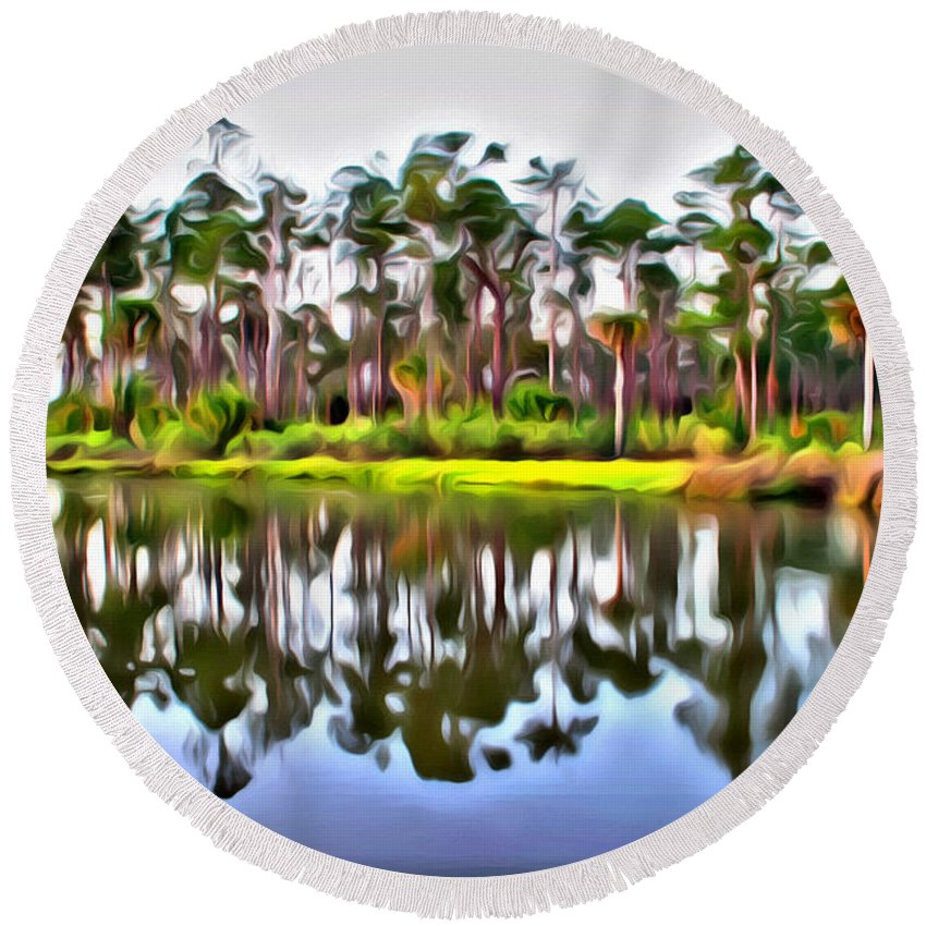 Pine Tree Scenics Old Florida Reflections Water Intracoastal Alicegipsonphotographs Round Beach Towel featuring the photograph Reflections Of Pines by Alice Gipson