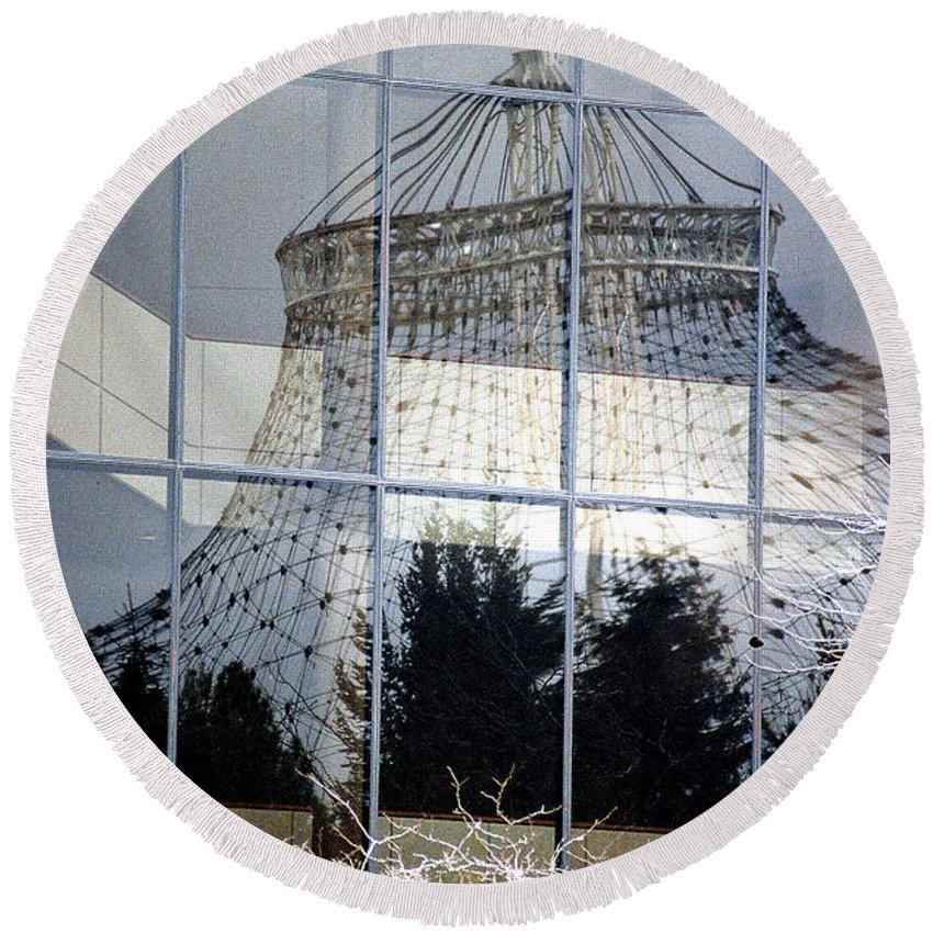 Spokane Round Beach Towel featuring the photograph Reflections Of Riverfront Park by Sharon Elliott