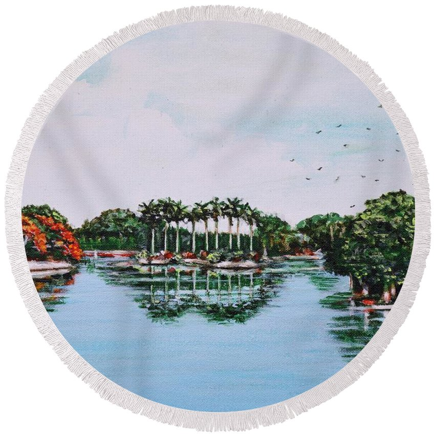 Lal Round Beach Towel featuring the painting Reflections On Lal Bagh Lake by Usha Shantharam