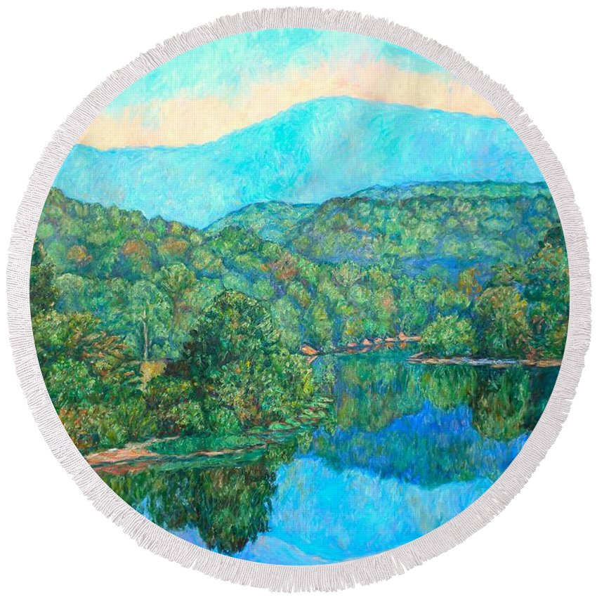 Mountainscape Round Beach Towel featuring the painting Reflections On The James River by Kendall Kessler