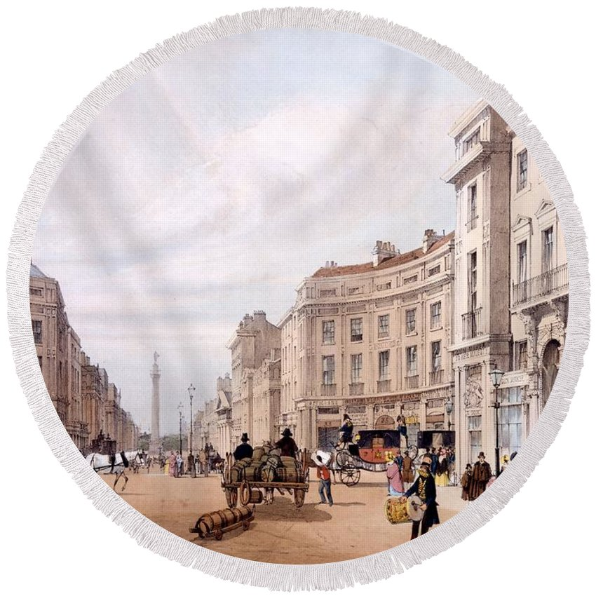 Regent Street Round Beach Towel featuring the drawing Regent Street, Looking Towards The Duke by Thomas Shotter Boys