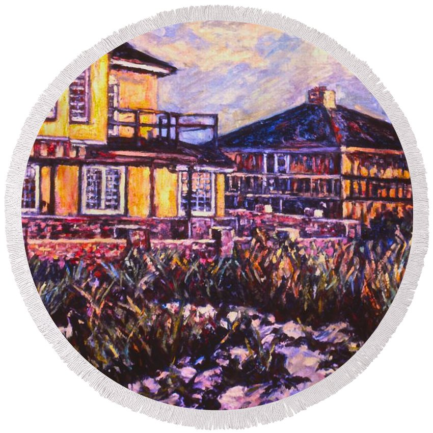 Landscape Round Beach Towel featuring the painting Rehoboth Beach Houses by Kendall Kessler