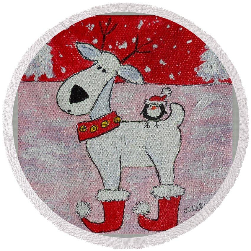 Reindeer Round Beach Towel featuring the painting Reindeer Booties by Julie Brugh Riffey
