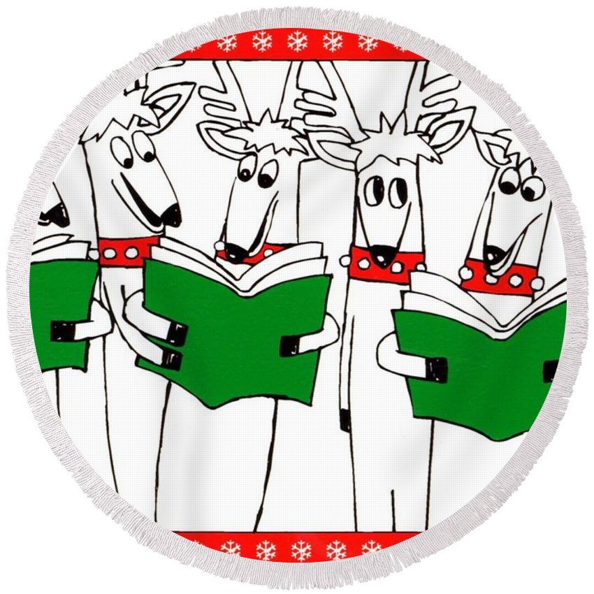 Christmas Card Round Beach Towel featuring the painting Reindeer Choir by Genevieve Esson