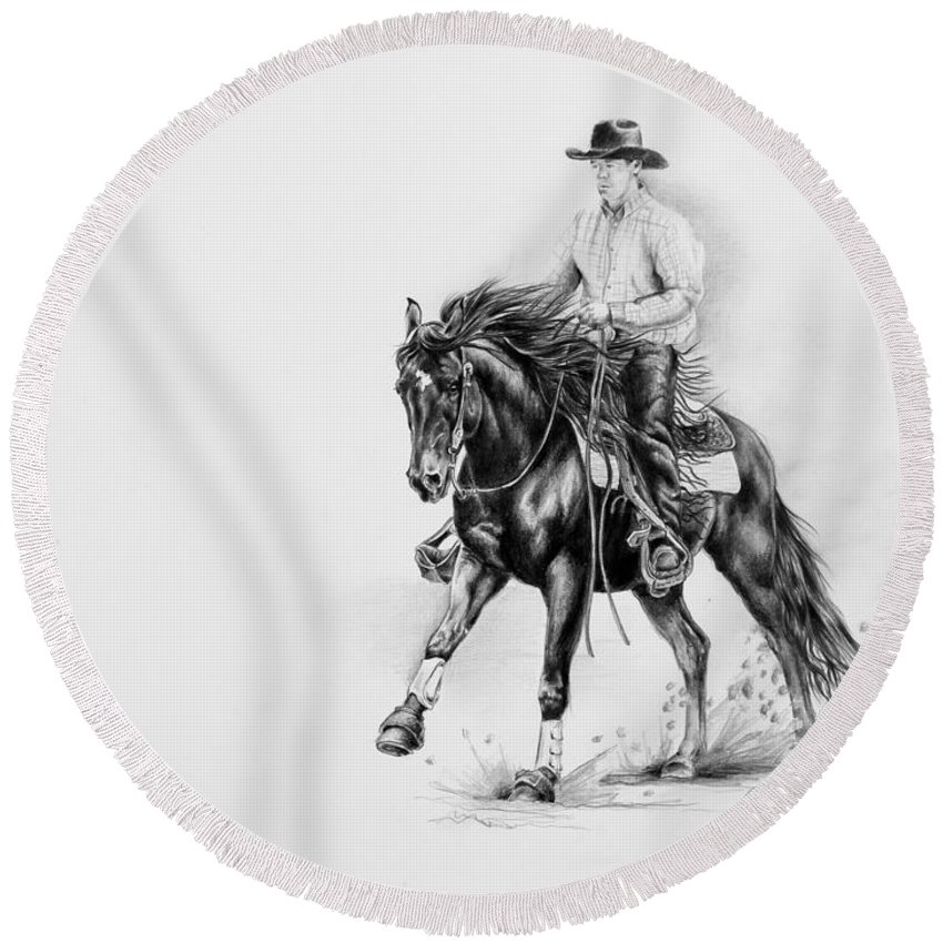 Appaloosa Round Beach Towel featuring the drawing Reining by Art Imago