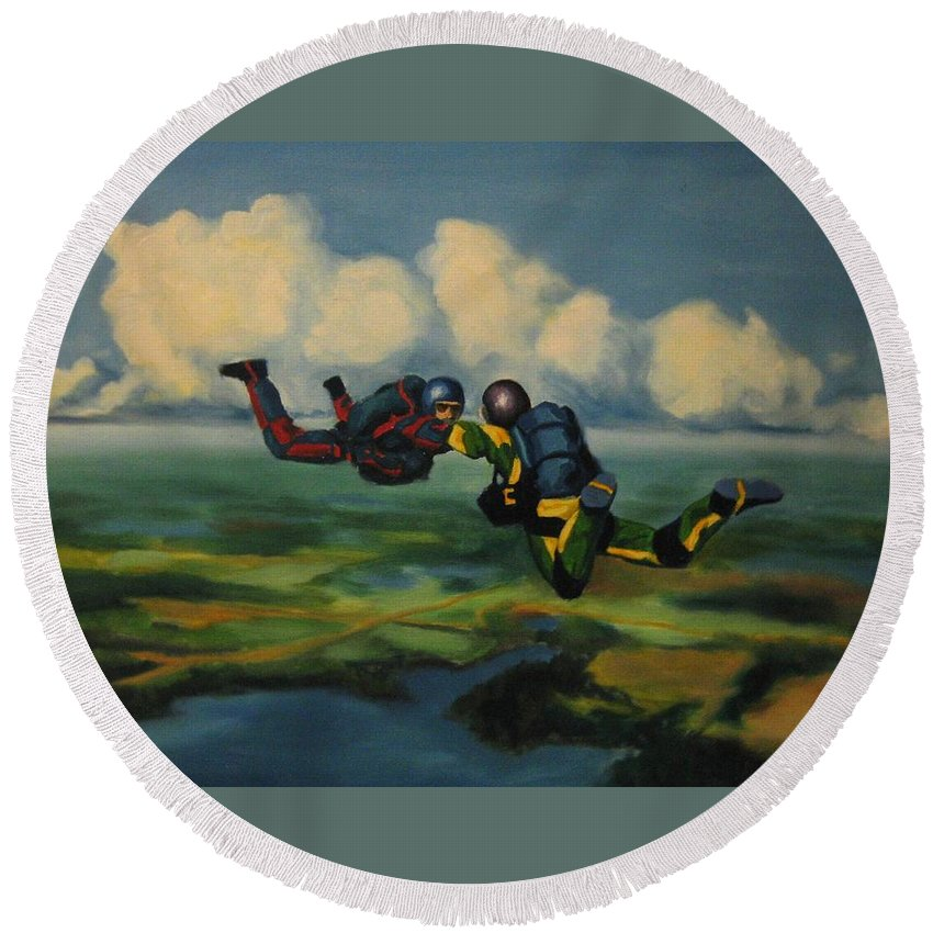 Skydivers Round Beach Towel featuring the painting Relative Work by John Malone