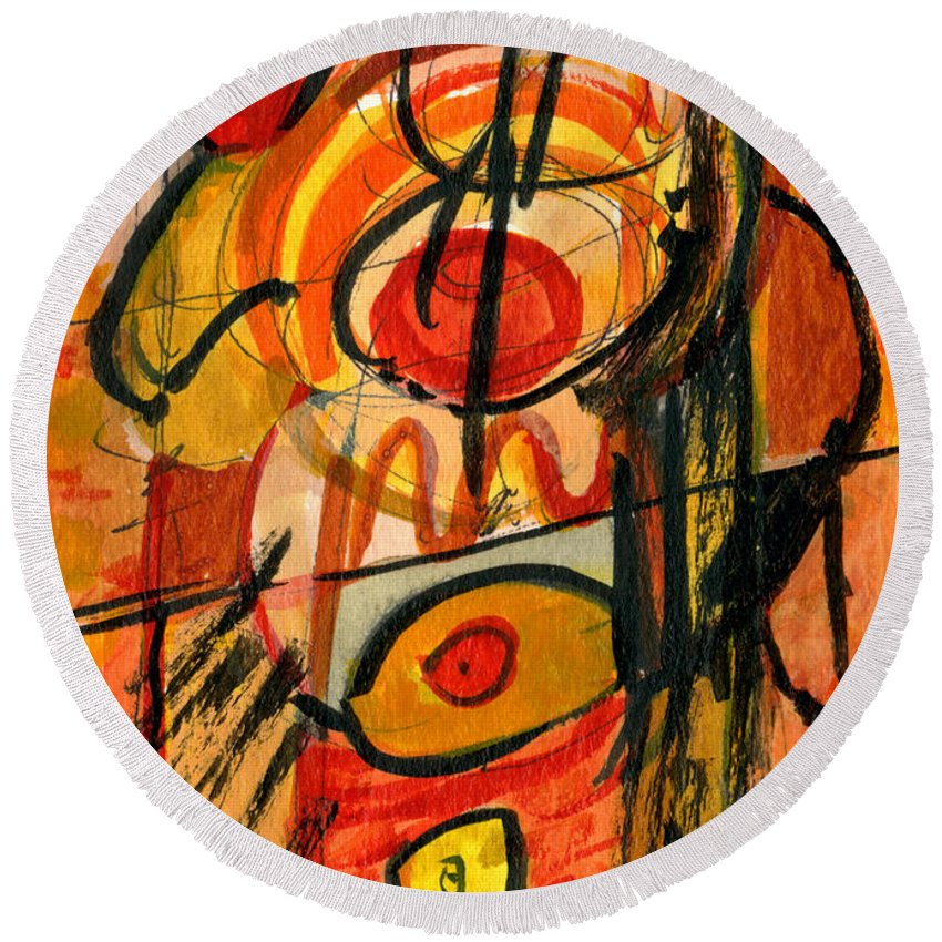 Abstract Art Round Beach Towel featuring the painting Relativity by Stephen Lucas
