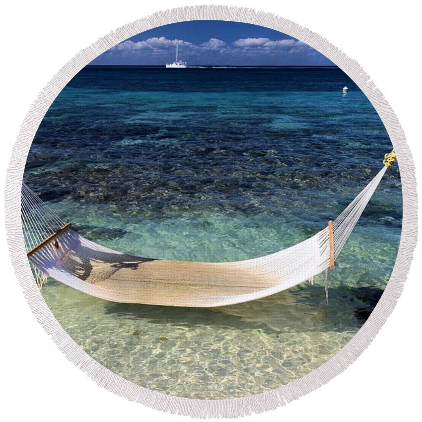 Beach Hammock Round Beach Towel featuring the photograph Relaxation by Adam Jewell