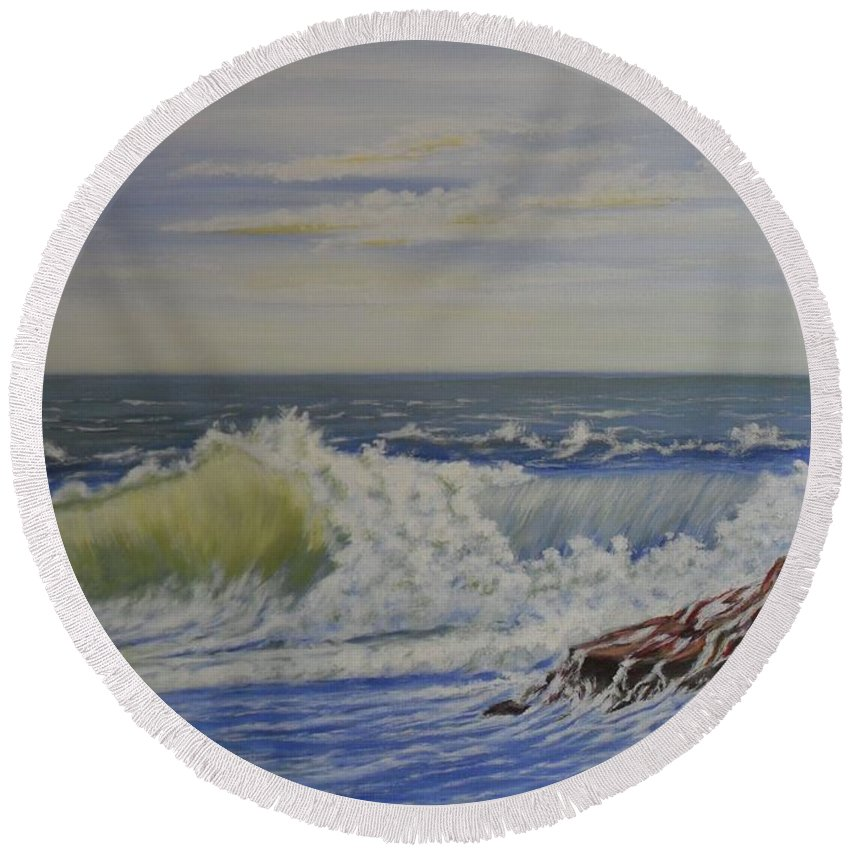 Seascape Paintings Round Beach Towel featuring the painting Relentless Harmony by Brendan Ludlow
