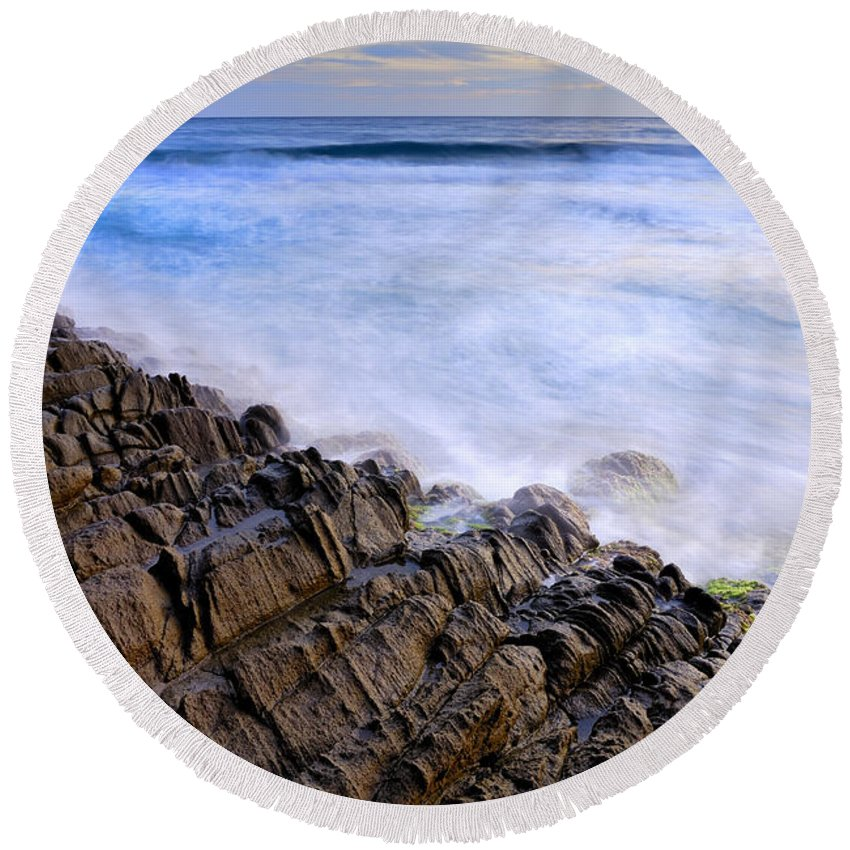 Seascape Round Beach Towel featuring the photograph Remains Of Volcanoes by Guido Montanes Castillo
