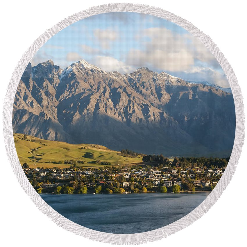 Queenstown New Zealand Lake Wakatipu Lakes Water Mountain Remarkable  Landscape Landscapes Waterscape Waterscapes Round Beach Towel featuring the photograph Remarkables by Bob Phillips