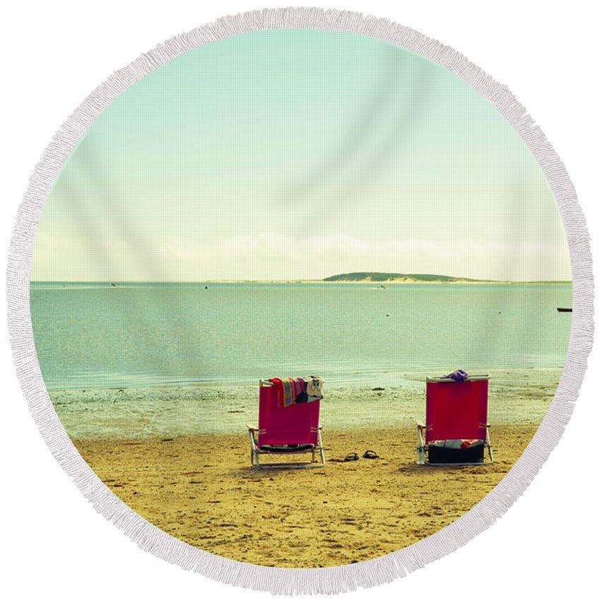 Beach Round Beach Towel featuring the photograph Remember Summer by Zina Zinchik