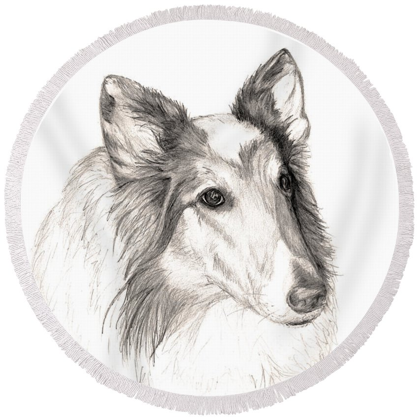 Remembering A Furry Friend Of 12 Years... Until We All Meet Again! Round Beach Towel featuring the drawing Remembering Maggie - A Tribute To A Collie by Stacey May