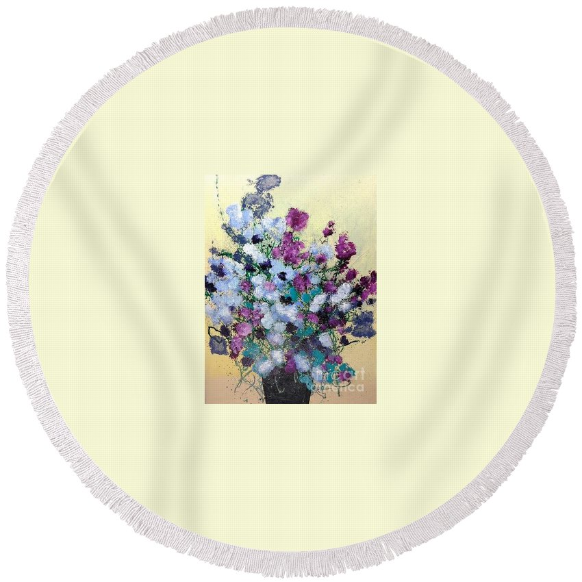 Landscape Round Beach Towel featuring the painting Remembering When by Allan P Friedlander