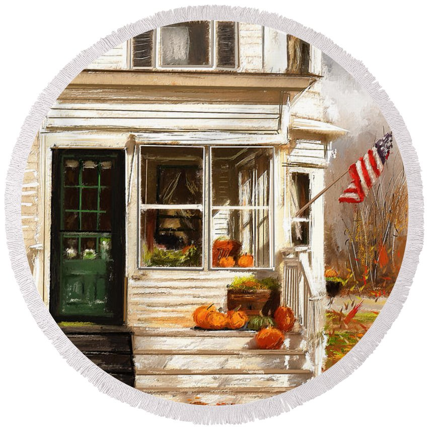 Porches Round Beach Towel featuring the painting Remembering When- Porches Art by Lourry Legarde