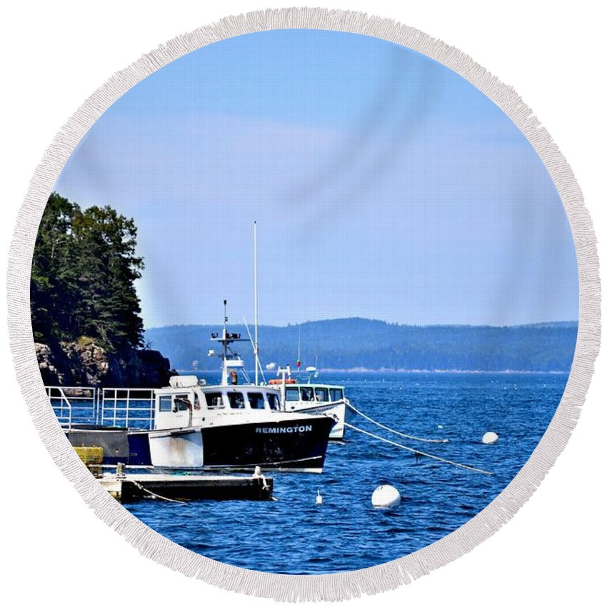 Remington Round Beach Towel featuring the photograph Remington Lobster Boat by Tara Potts