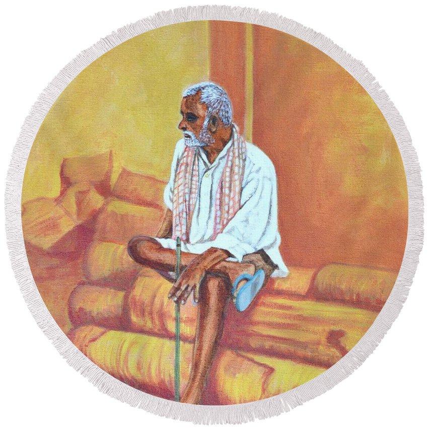 Usha Round Beach Towel featuring the painting Reminiscing by Usha Shantharam