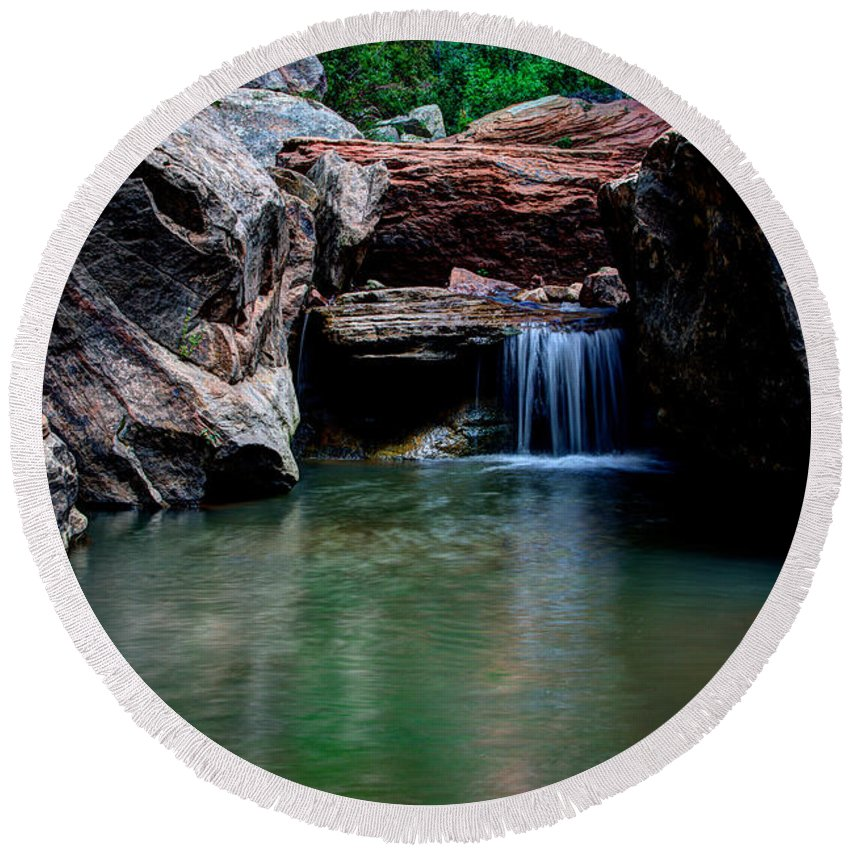 Water Round Beach Towel featuring the photograph Remote Falls by Chad Dutson