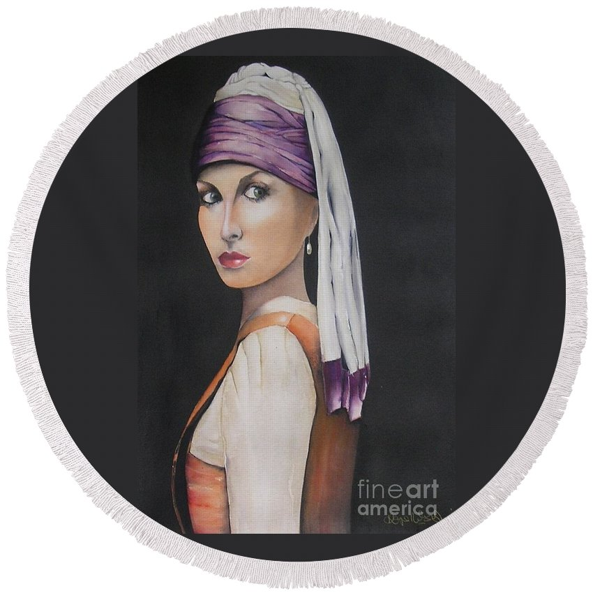 Girl Round Beach Towel featuring the painting Renaissance by Kaye Miller-Dewing