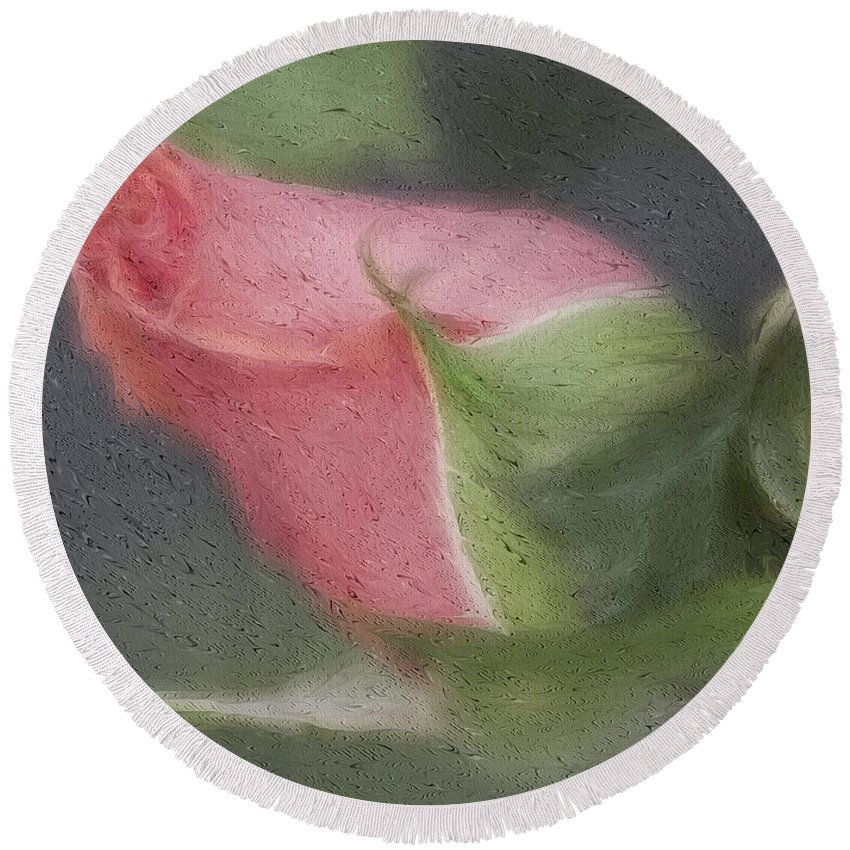 Rose Round Beach Towel featuring the photograph Rendition Of A Rose by Deborah Benoit