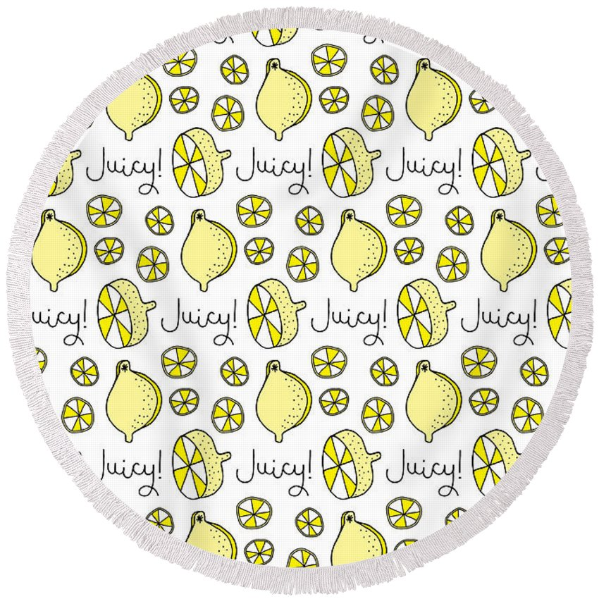 Susan Claire Round Beach Towel featuring the photograph Repeat Prtin - Juicy Lemon by MGL Meiklejohn Graphics Licensing