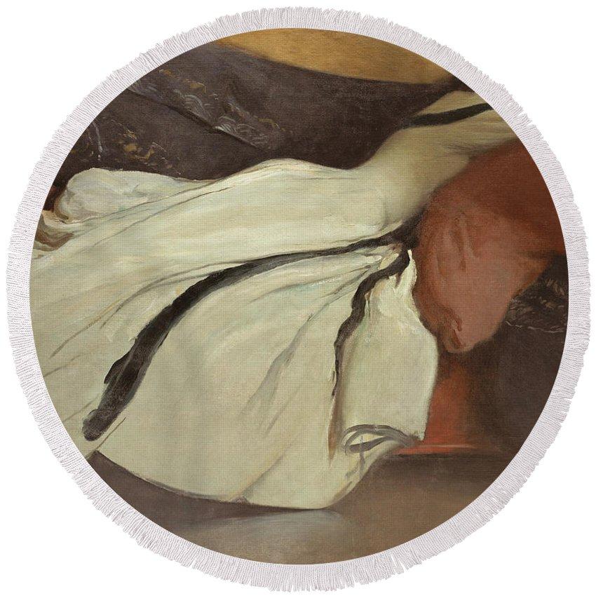 John White Alexander Round Beach Towel featuring the painting Repose by John White Alexander