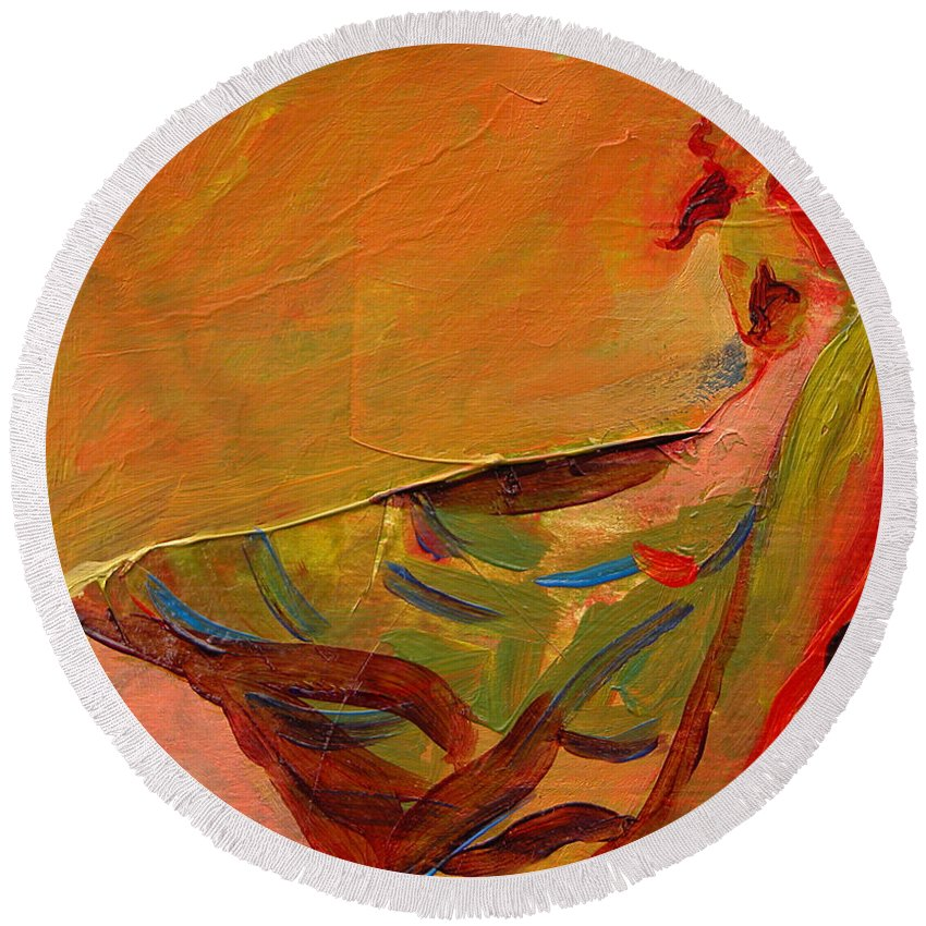 Art Round Beach Towel featuring the painting Repose by Julianne Felton