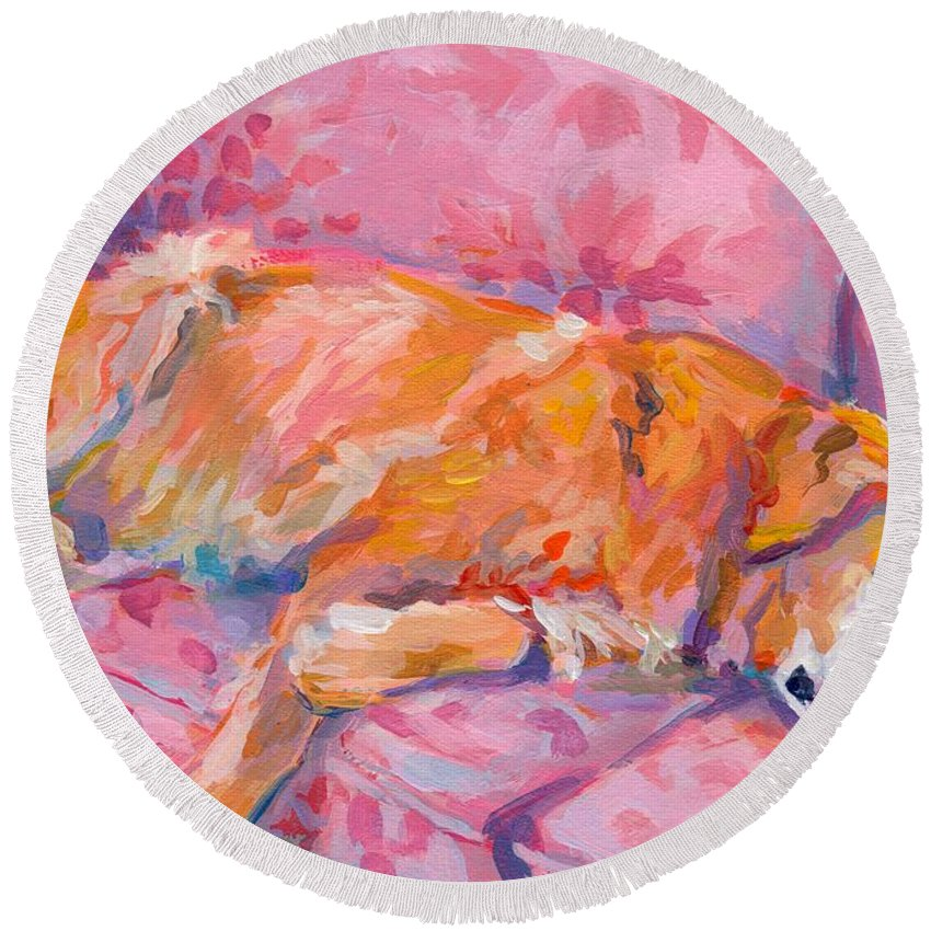 Golden Retriever Round Beach Towel featuring the painting Repose by Kimberly Santini