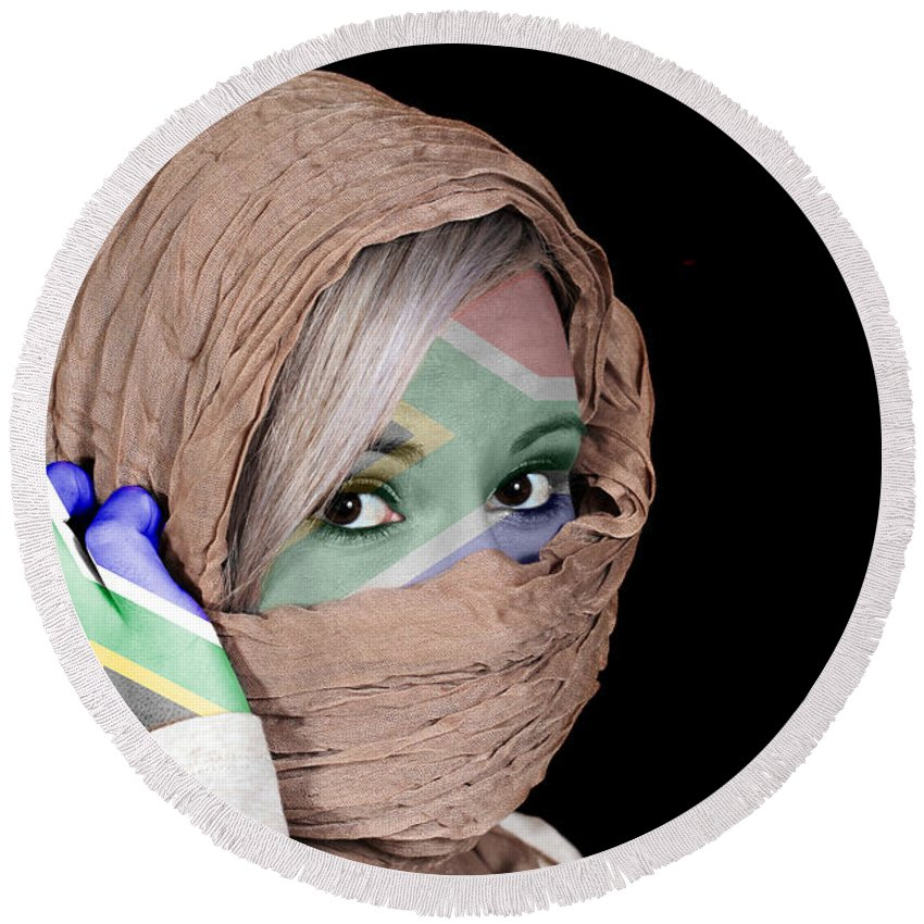 Headscarf Round Beach Towel featuring the photograph Republic Of South Africa by Paul Fell