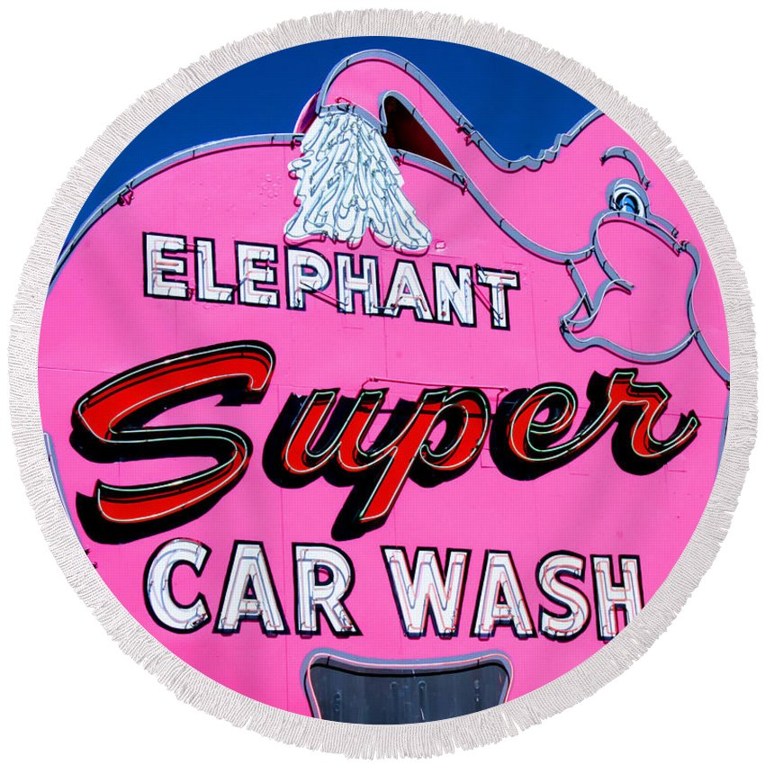 Elephant Round Beach Towel featuring the photograph Elephant Super Car Wash Sign Seattle Washington by Tap On Photo