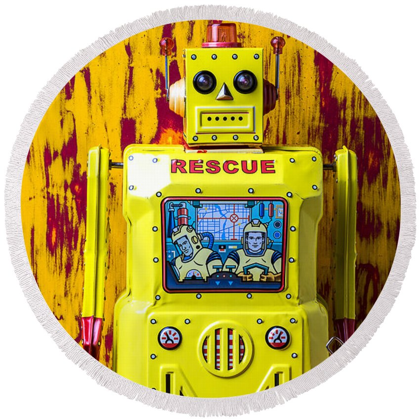 Yellow Round Beach Towel featuring the photograph Rescue Robot by Garry Gay