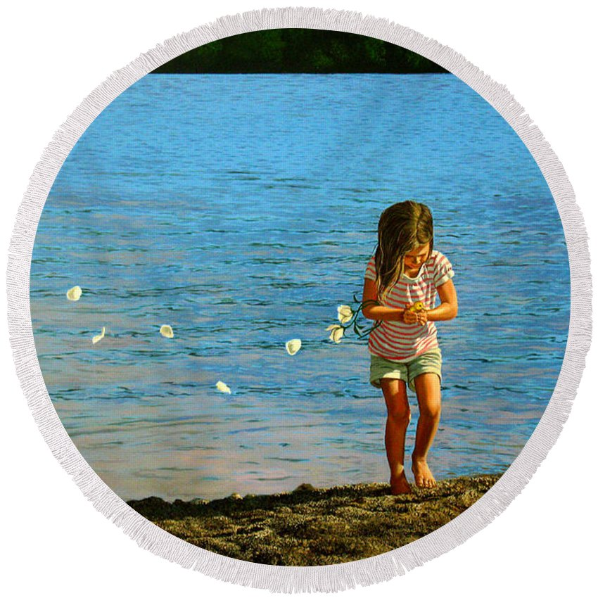 Girl Round Beach Towel featuring the painting Rescuer by Christopher Shellhammer