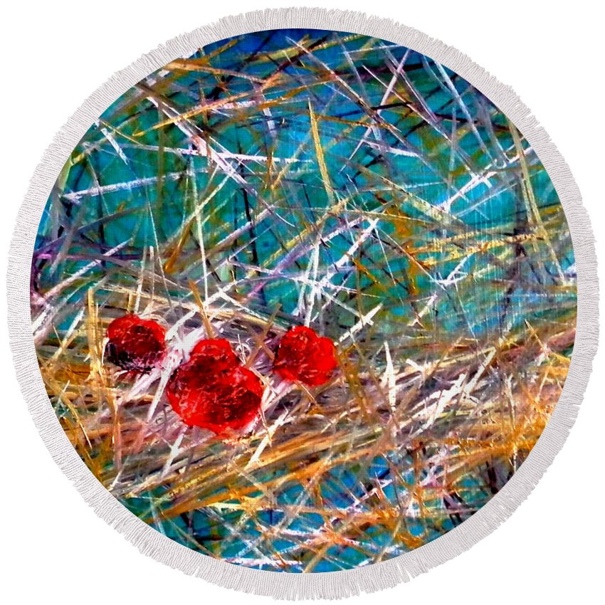 Abstract Round Beach Towel featuring the painting Residing by Art by Kar