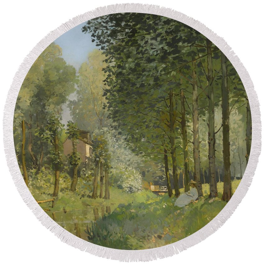 Painting Round Beach Towel featuring the painting Rest Along The Stream by Mountain Dreams